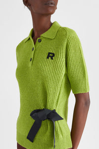 Alpaca polo shirt with ribbon