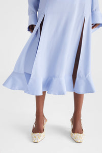 Side slit silk midi skirt