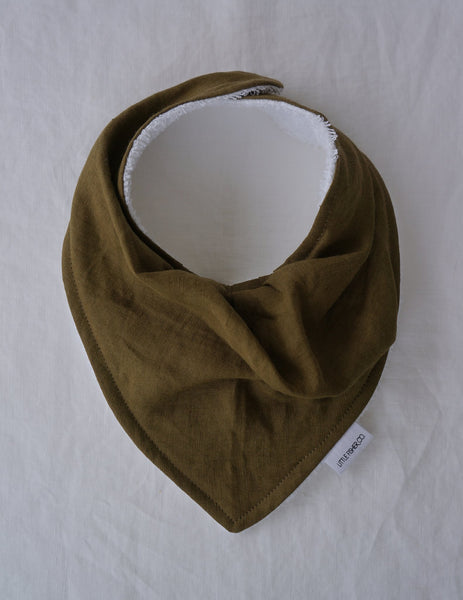 LITTLE FISHER French Linen Baby Bandana Bib - Khaki