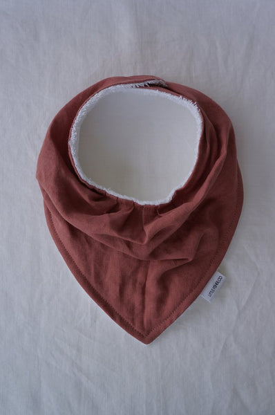 LITTLE FISHER French Linen Baby Bandana Bib - Red Earth