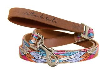 Outback Tails Leather Dog Lead - Sand Dunes