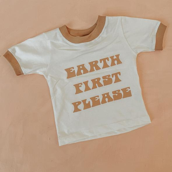 NU NATIVES Earth First Please - Cream / Caramel Tee