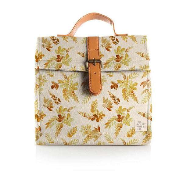 The Somewhere Co Mustard Floral Lunch Satchel