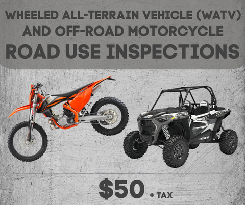 Wheeled all-terrain vehicle (WATV) and off-road motorcycle road use inspections available at Cobalt Cycles in Granite Falls, Washington.
