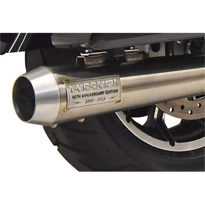 Bassani 50th Anniversary 2:1 Exhaust System - 2017-2020 Touring Models - Straight Can - Stainless Steel - Cobalt Cycles