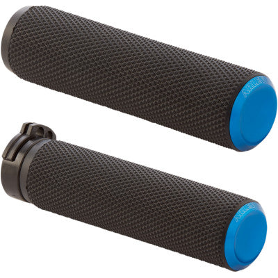 Arlen Ness Knurled Fusion Grips - Cable - Blue Anodized - Cobalt Cycles