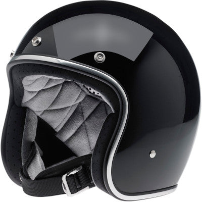 Biltwell Bonanza Open-Face 3/4 Shell Motorcycle Helmet - Gloss Black - Cobalt Cycles