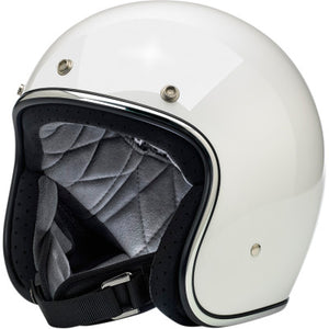 Biltwell Bonanza Open-Face 3/4 Shell Motorcycle Helmet - Gloss White