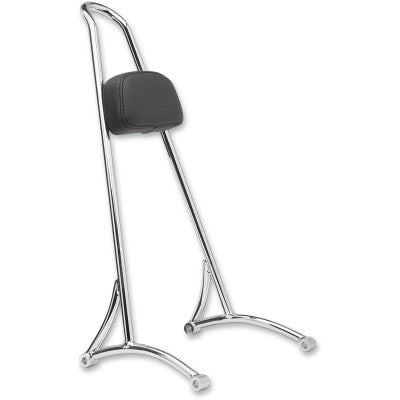 "Burly Brand 20"" Tall Sissy Bar with Backrest Pad - 1996-2003 XL - Chrome"