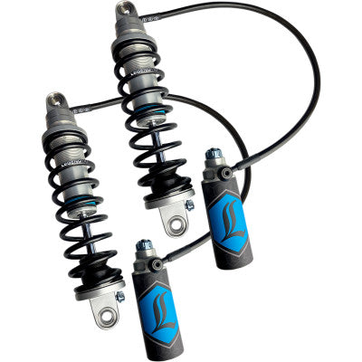 "Legend Suspension REVO-ARC Remote Reservoir Shocks - 1999-2008 Harley Touring Models - Heavy Duty - 13"" - Clear Ano"