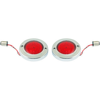 Custom Dynamics ProBEAM Flat Bezel Rear LED Turn Signals - Chrome with Red Lens