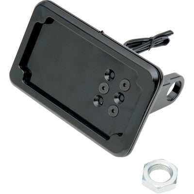 Cycle Visions In-Close Horizontal License Plate Mount w/ Light - 2006+ XL - Black