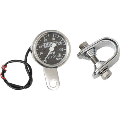 "Drag Specialties 1-7/8"" 140 MPH Mini Mechanical Speedometer"