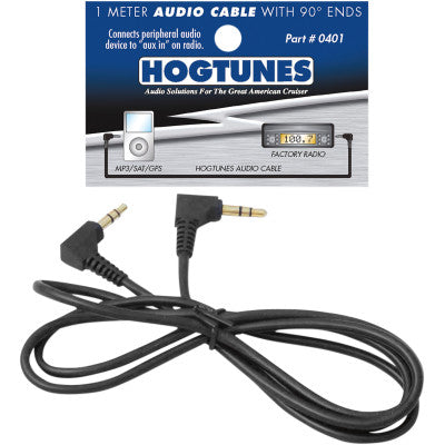 Hogtunes 1 Meter Stereo Audio Cable with 90 Degree Ends