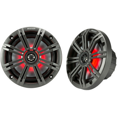 "Kicker All-Weather Coaxial 6.5"" Speakers with 7-Color LED Lighting - 65 Watt"