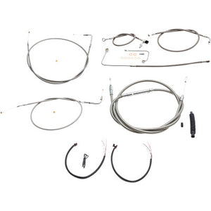 "LA Choppers Complete Stainless Braided Handlebar Cable/Brake Line Kit - For 12""-14"" Ape Hangers - 2015 FL Softail"