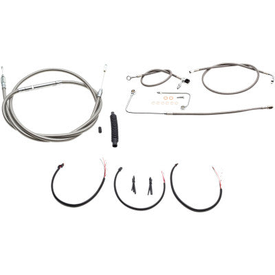 "LA Choppers Complete Stainless Braided Handlebar Cable/Brake Line Kit - For 12""-14"" Ape Hangers - 2016-2017 FL Softail Models"