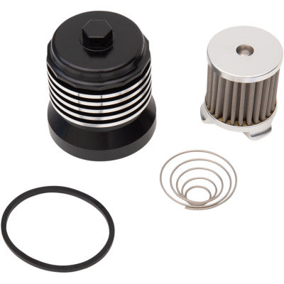 "PC Racing Flo Reusable ""Spin-on"" Oil Filter -Black/Polished"