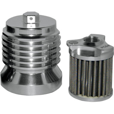 "PC Racing Flo Reusable ""Spin-on"" Oil Filter - Chrome"