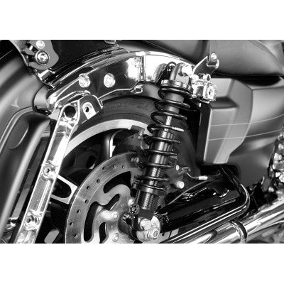 "Legend Suspension REVO-A Adjustable Coil Suspension - 1999-2020 Harley Touring Models - Standard - 12"" - Clear Ano"