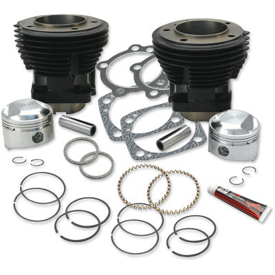 "S&S Cycle 80"" 3-1/2"" Bore Cylinder & Standard Compression Piston Kit - 1979-1984 80"" Big Twin - Gloss Black Finish - Cobalt Cycles"