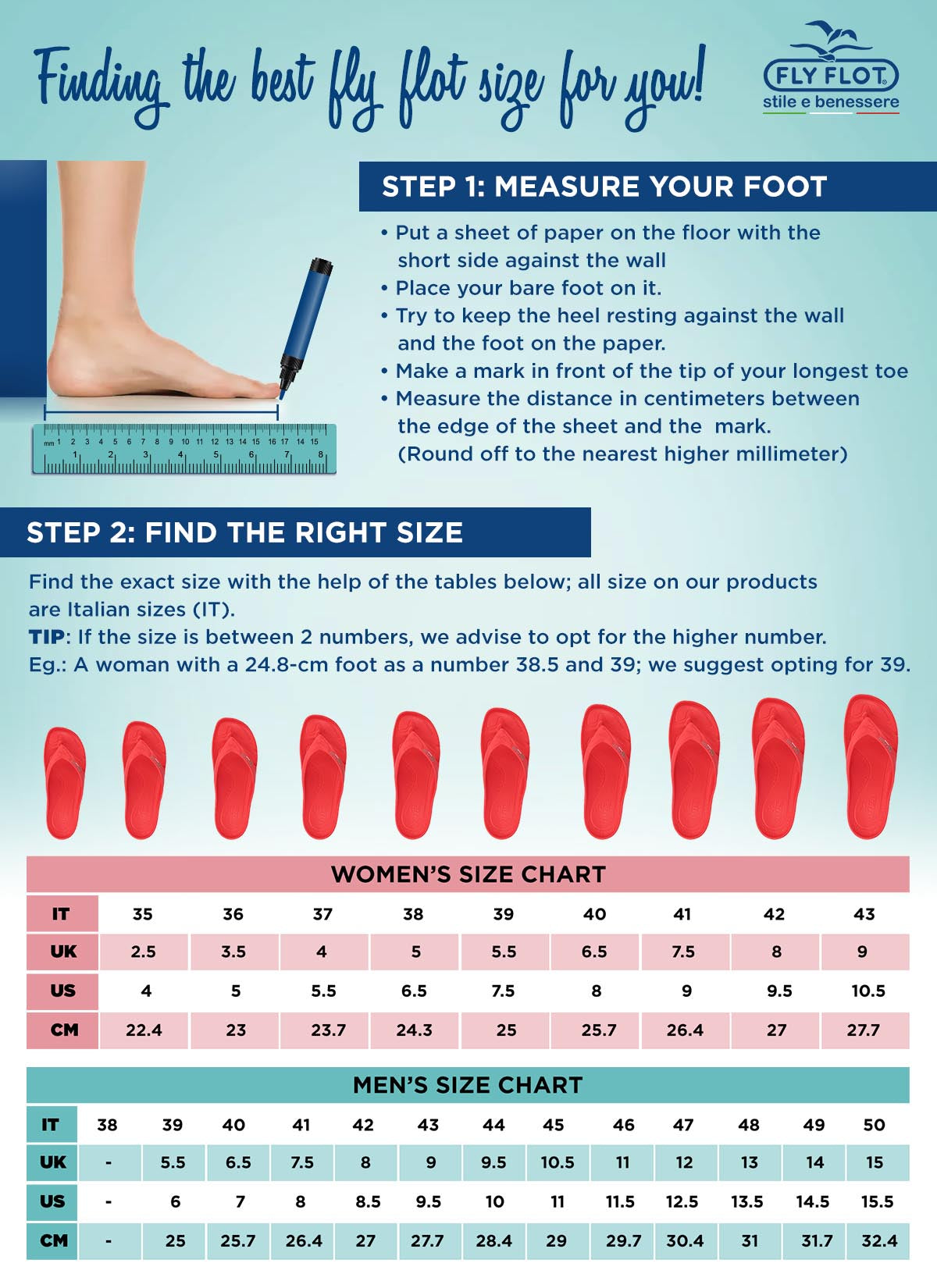 Easy steps to find the right shoe size at Fly Flot