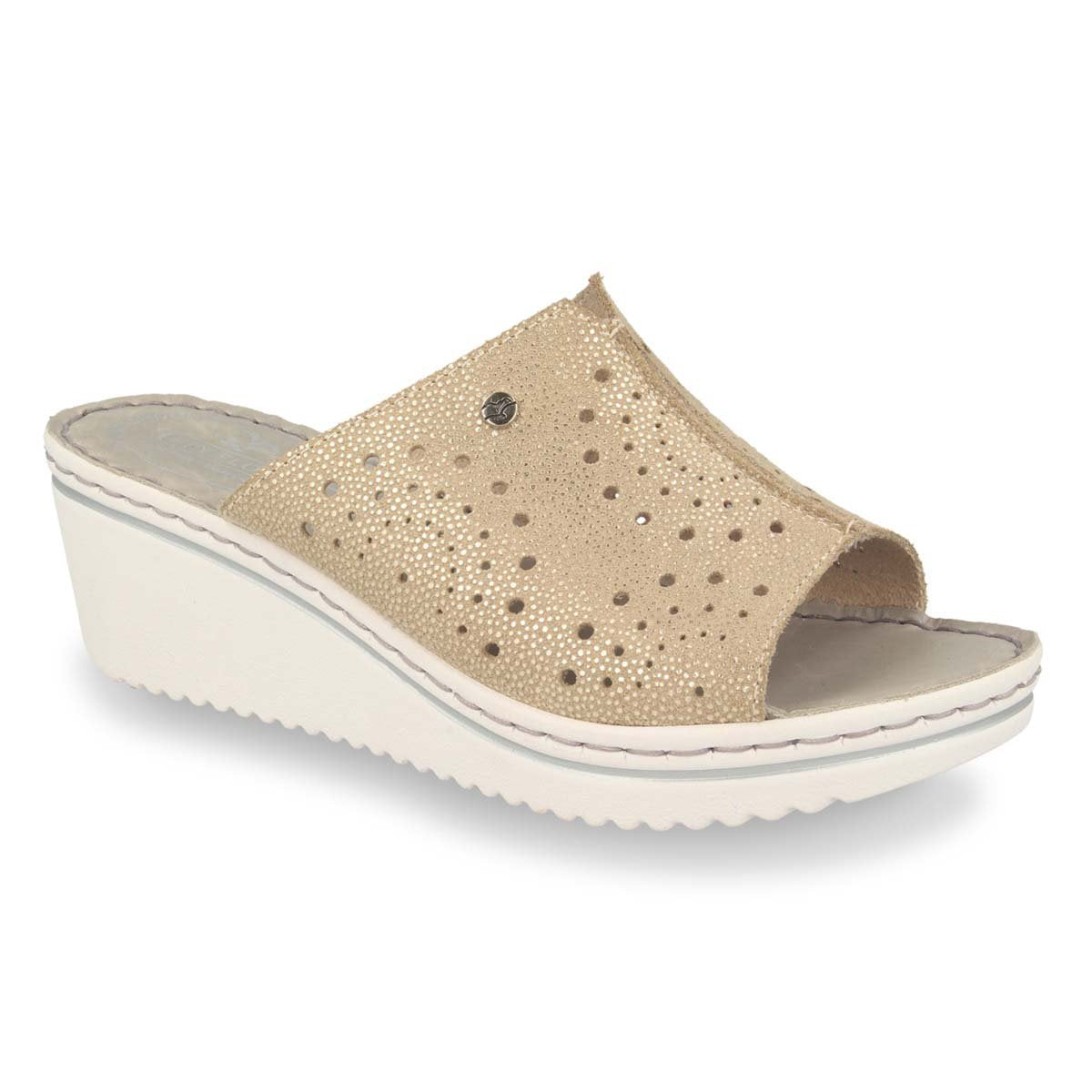 Photo of the Leather Woman Slipper Beige (41d41og)