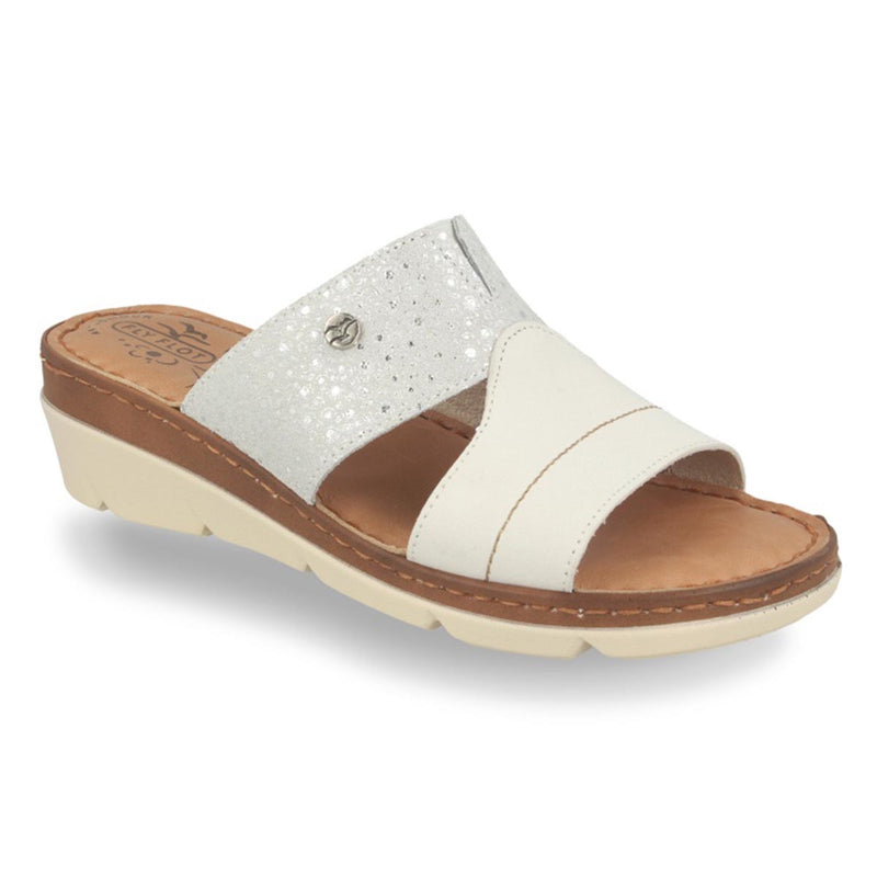Leather Woman Slipper White (71f19bg)