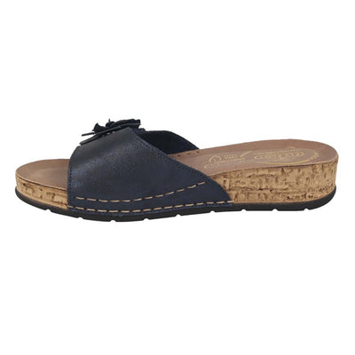 Leather Woman Slipper Blue  (150D13   7G)