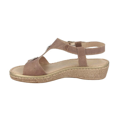 Leather Woman Sandal Taupe  (210086   8G)