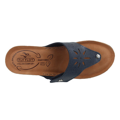 Leather Woman Slipper Blue  (230146   1G)