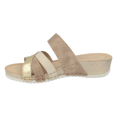 Leather Woman Slipper Taupe  (230165   7G)