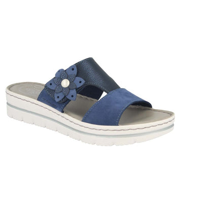 Leather Woman Slipper Blue  (250D28   3G)
