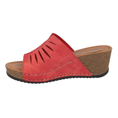Leather Woman Slipper Red  (330B10   PG)