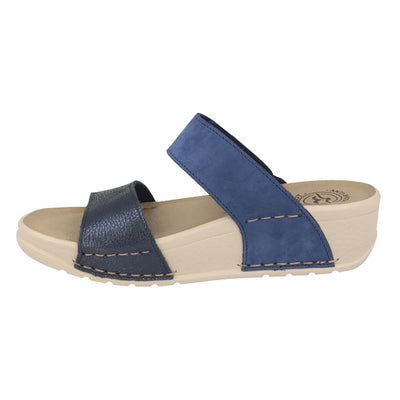 Leather Woman Slipper Blue  (380C79   12)
