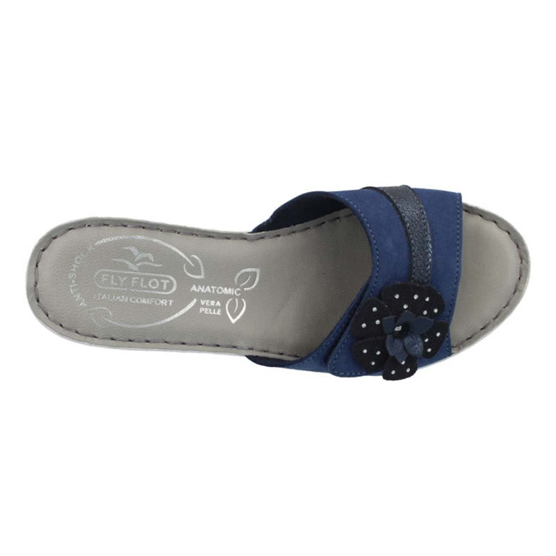 Leather Woman Slipper Blue  (410D43   3G)