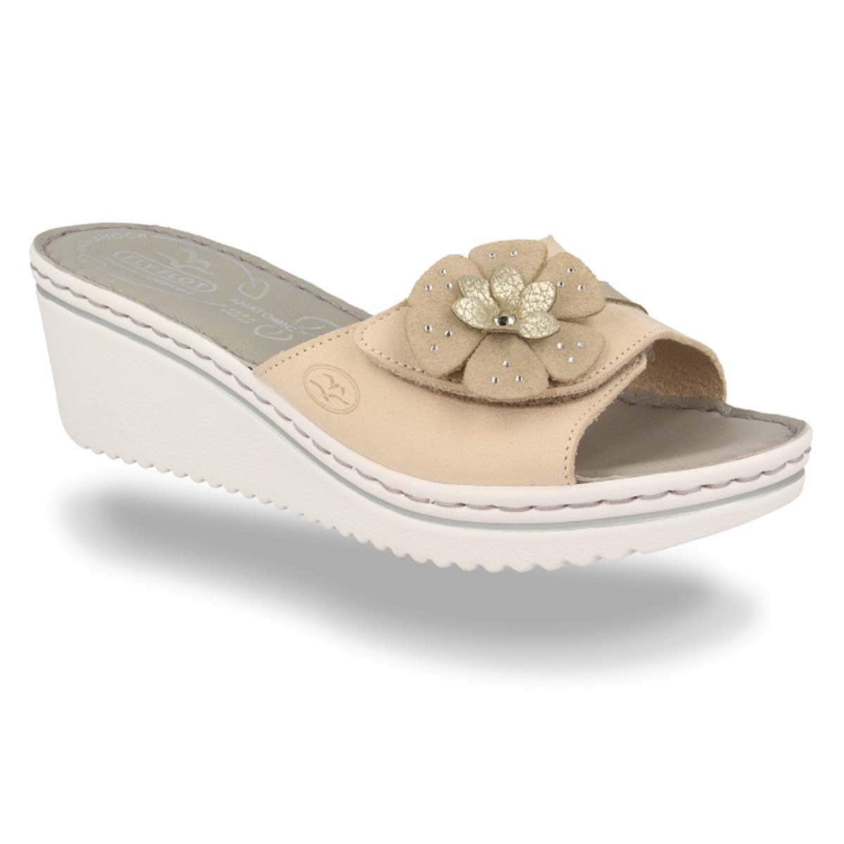 Leather Woman Slipper Beige  (410D43   3G)