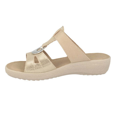 Cloth Woman Slipper Beige  (550B47   IB)