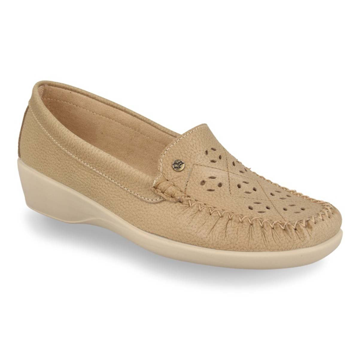 See photos Leather Woman Mocassin Beige (11A28KG)