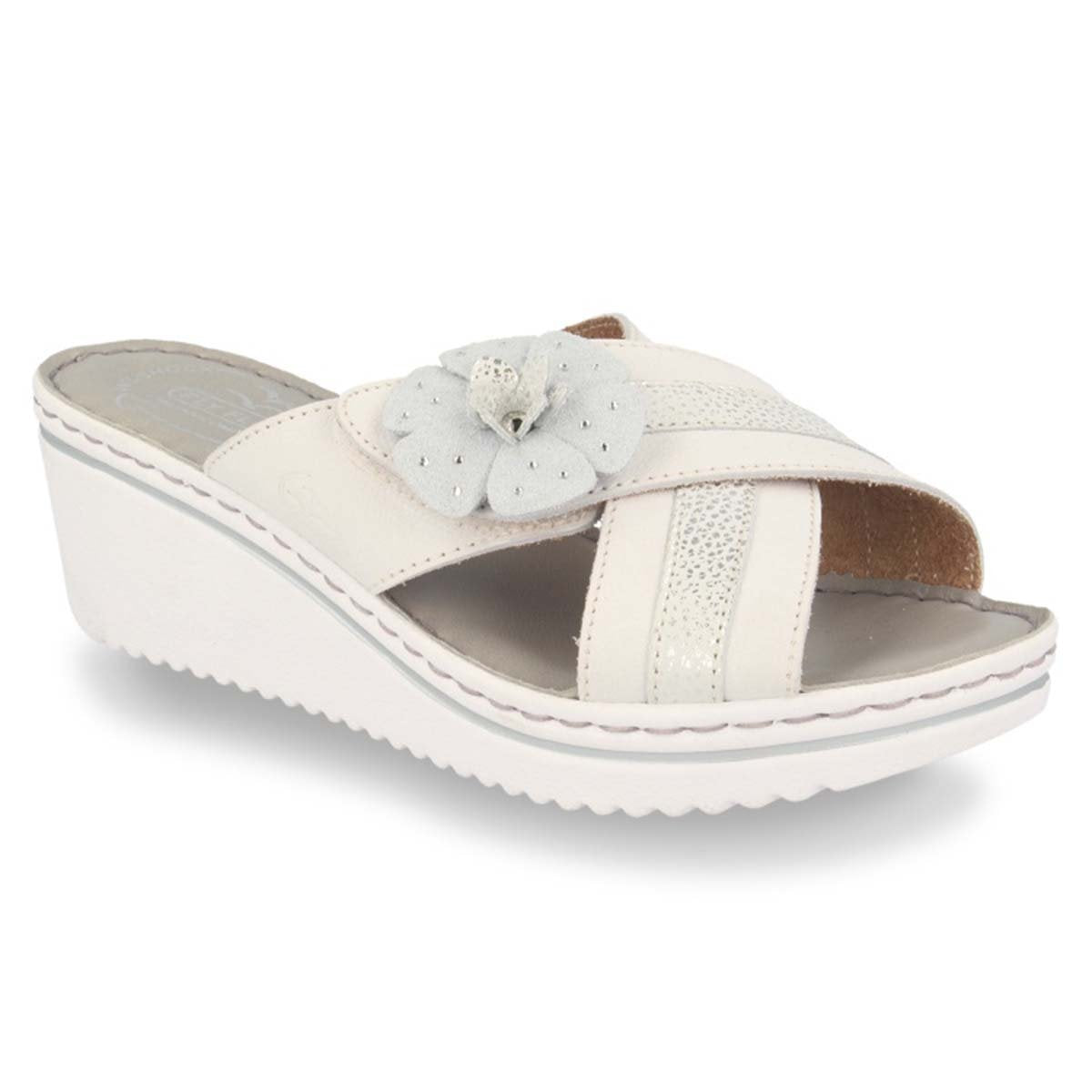 Leather Woman Slipper White  (410D44   3G)
