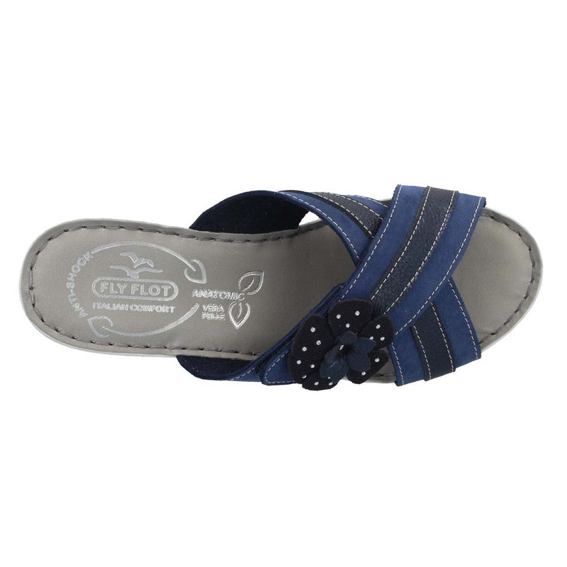 Leather Woman Slipper Blue  (410D44   3G)