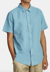 Crushed Short Sleve Shirt -  Bermuda Blue