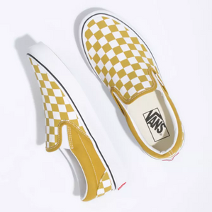 Classic Slip-On Shoes (Checkerboard) - Olive Oil/True White