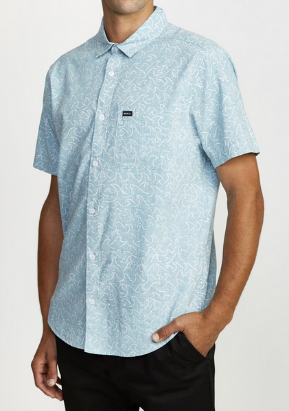 Oblow Waves Button Down - Bermuda Blue