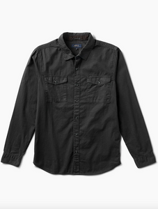 Well Worn Long Sleeve Button Up Shirt- Black