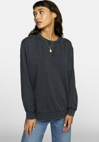 Mica Burnout Pullover Sweater - Washed Black
