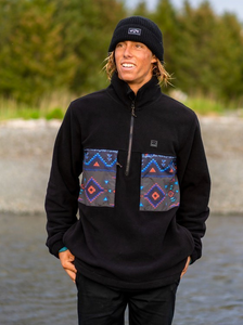 Canyon Half Zip Polar Fleece - Black Multi