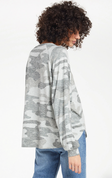 Plira Camo Slub Sweater Top
