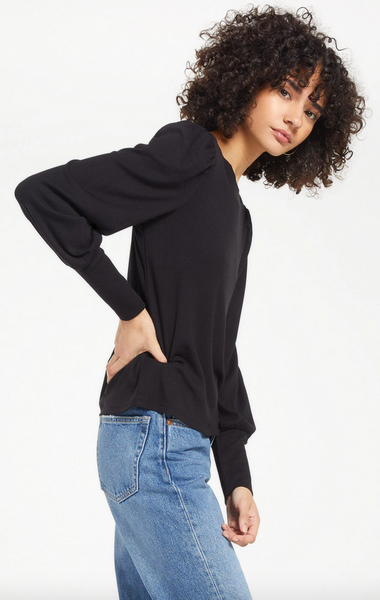Clemente Puff Sleeve Top - Black