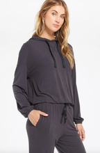 Load image into Gallery viewer, Sonya Whisper Jersey Hoodie - Onyx
